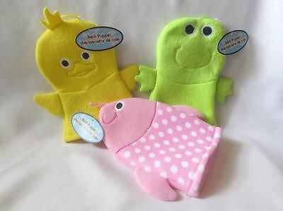 BABY BATH PUPPET WASHCLOTH - SET OF THREE FUN ANIMAL DUCK - FISH & FROG STYLES.. USD 9.95