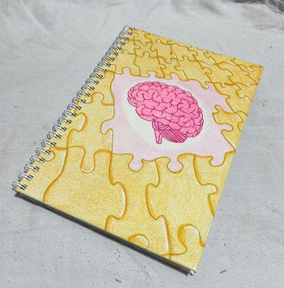 Encadernação Wire-o. Ilustração feita em papel Canson, usando lápis de cor aquarelável amarelo, caneta rosa Stabillo e caneta amarela Posca. Tamanho A5