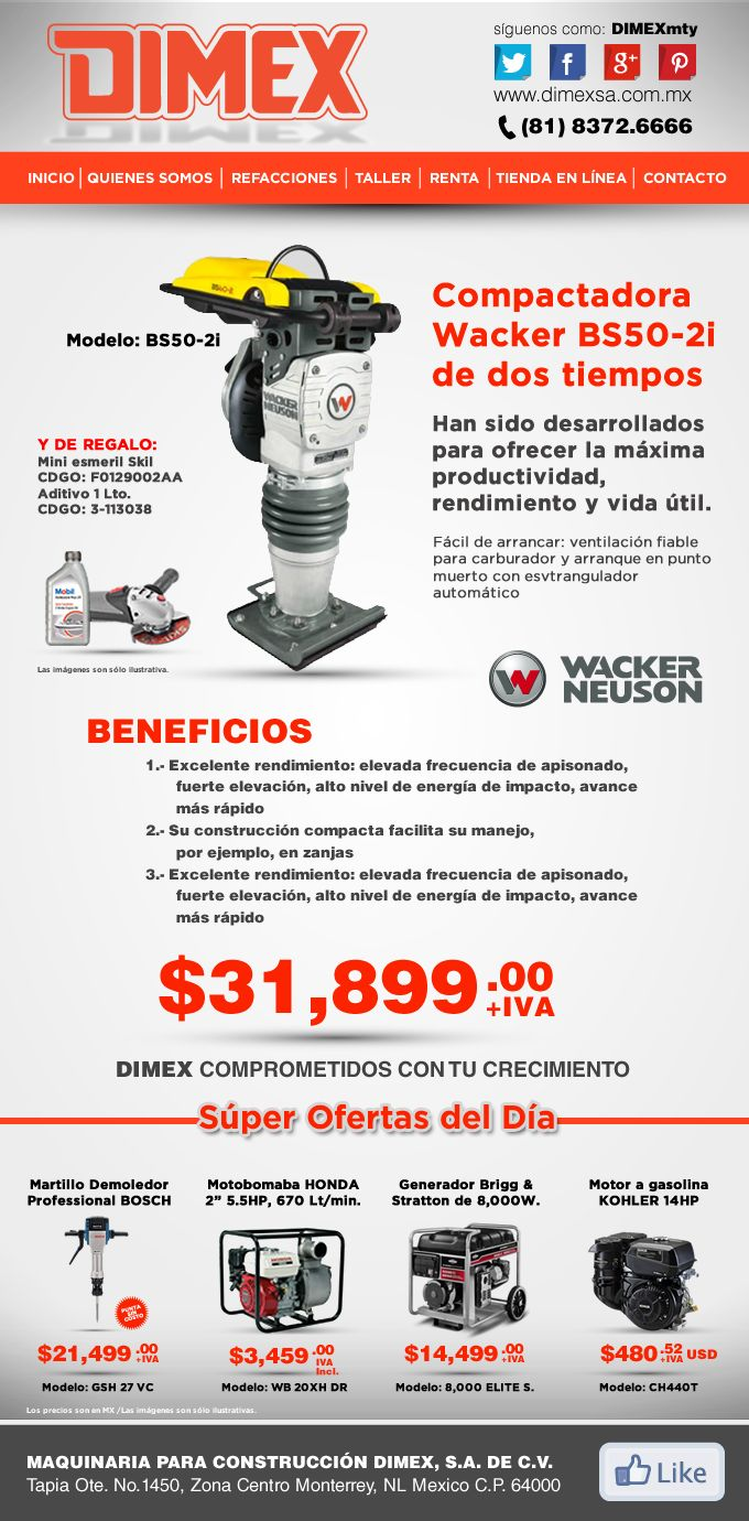 @DIMEX MONTERREY #promocion de Compactadora Wacker BS50-2i de dos tiempos a $31,899.00 +IVA MX #dimexmty