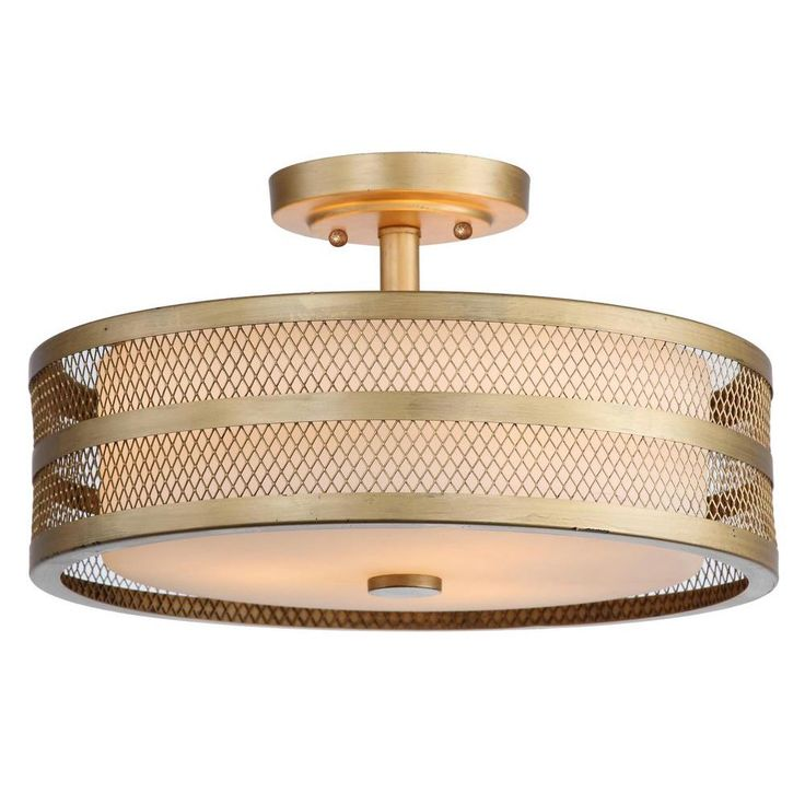 This double drum shade light fixture adds a modern touch to any ceiling space. It's encased in a meshed steel outer shell that's finished in antique gold, which gives the light an elegant glow. It's one of The Home Depot's most pinned products.