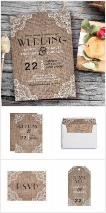 Burlap and Lace Wedding Collection #burlap #wedding #invitations #lace