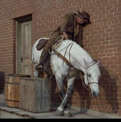 Lee Marvin - Cat Ballou.  He won an Oscar for this performance, and his horse deserved an award, too.