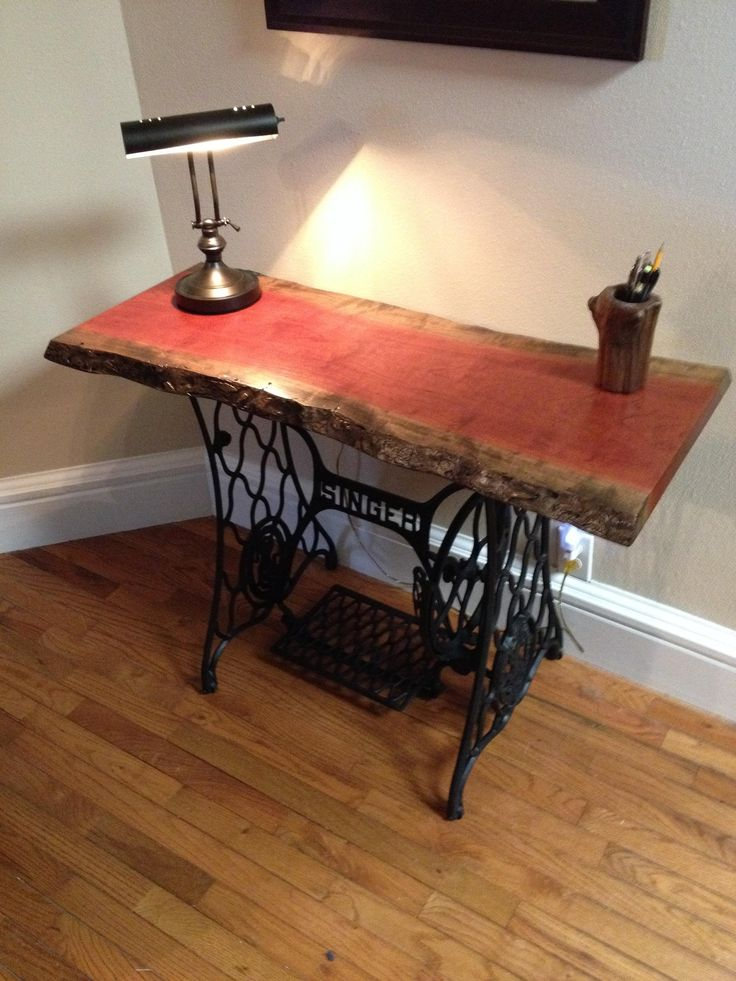 Cherry slab table, with Singer sewing machine base