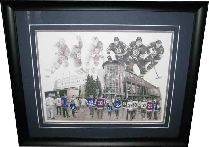 Winnipeg Jets Refuelled Print framed and matted. Hand signed by artist and numbered out of 2011.