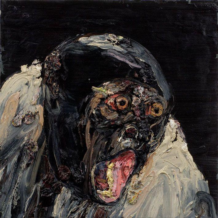 Allison Schulnik: 3 - Alles in dit schilderij schreeuwt, de dynamiek van de  schildertoets accentueert de expressieve beweging van de emotie.