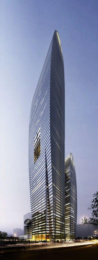 Zhengzhou Eastern Center Tower, former Greenland Zhengzhou Towers, Zhengzhou, China by Brininstool, Kerwin, + Lynch Architects :: proposal