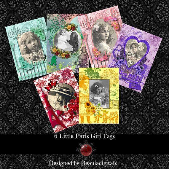 Little Paris Girls Digital Tags  Instant by Beauladigitals on Etsy