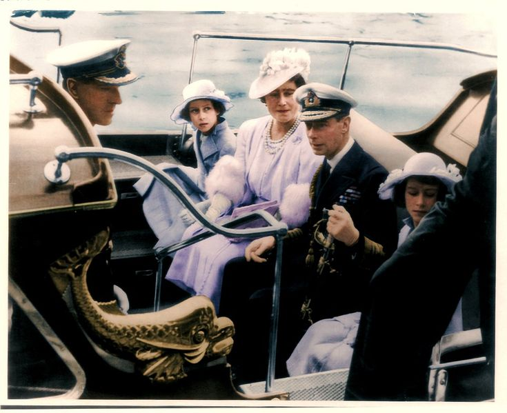 The Royal Family arriving at the Royal Naval College in Dartmouth. Left to right: Prince P...