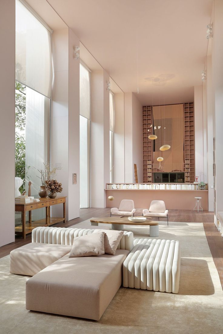 modernes Haus   Designer Haus Interior   rosa Couch   Wohnung ...