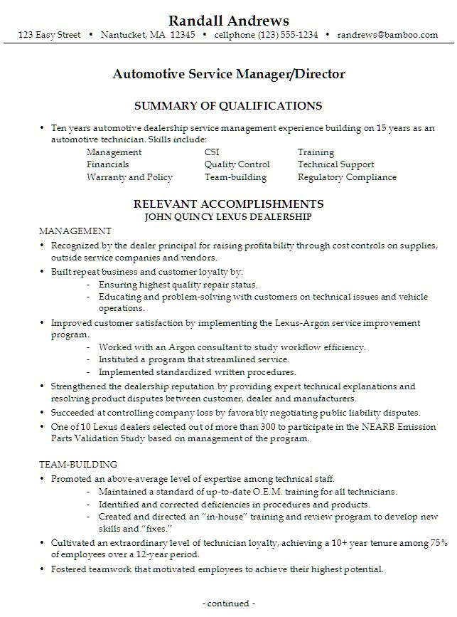 sample resume for someone seeking a job as an automotive service manager director - Resume Building Services