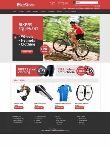 Bike Store OpenCart Theme Template разработана специально для спортивных товаров. Гармоничное сочетание красного и чёрного цвета, белый фон центрального контента и чёрный подвал. Это лучшая декорация для показа Байков и Рам, Колёс и Педалей, Запчастей для Велосипедов, Снаряжения - шлемов, Перчаток, Наколенников, Одежды для байкеров и других товаров