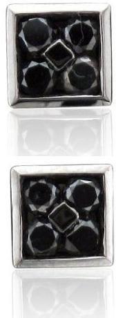 Mens 10k Black Gold Square Black Diamond Earrings Studs 0.50 carat
