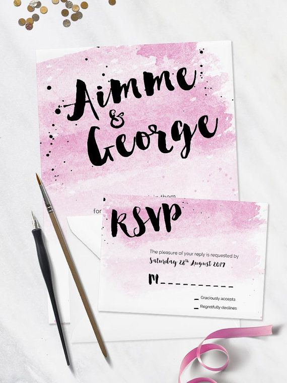 Pink Blue and Purple RSVP / Reply  Watercolour by PaperCharmStore