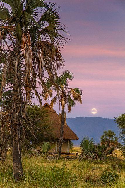 Moonset - Maramboi Tented Lodge, Lake Manyara National Park, Tanzania