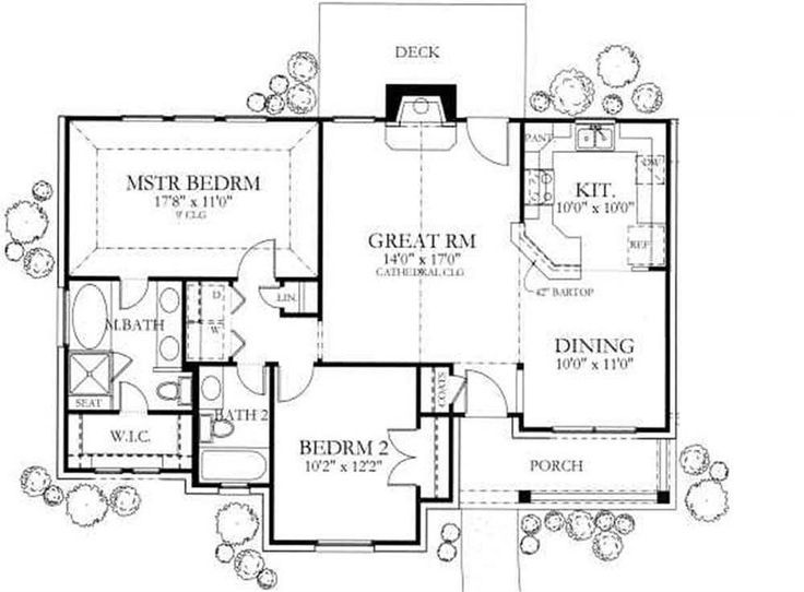 Ranch Style House Plan   2 Beds 2 Baths 1092 Sq/Ft Plan Floor Plan   Find  It Hard To Believe That The Sqft Isnu0027t Larger. Master Is Way To Big Would  Move ...