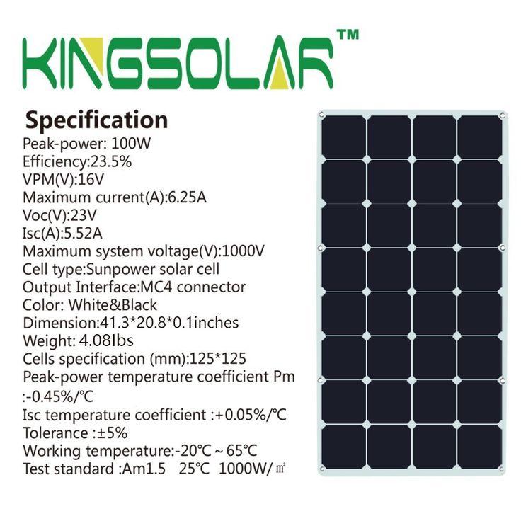 Solar Panel KINGSOLAR 100 Watt 18 Volt Monocrystalline Semi Flexible Solar Panel Bendable folding Solar panel