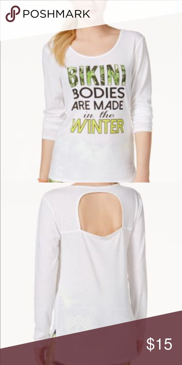 💃🏾Material Girl Graphic T-Shirt Material Girl Juniors Bikini Bodies Cutout Bright White  Features Size Type: Juniors Sleeve Style: Long Sleeve Style: Knit Top Occasion: Casual Material: Polyester. Purchase by 4:00 pm Central Time for same shipping. Material Girl Tops Tees - Long Sleeve