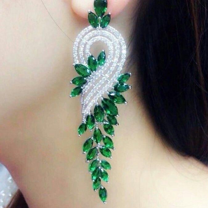 Emerald and Diamond earrings Royal Diamond jewellery