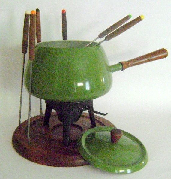 Fondue Set 1970s----I had one of these and then traded it in for an electric one because we used it so much!!