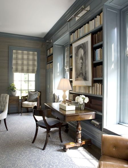 a perfect gray: gray bookshelves  Love the painting over the shelves and great desk