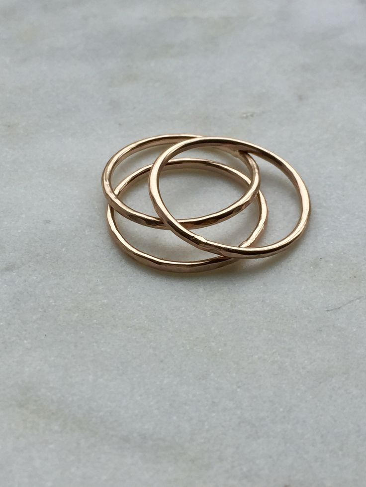 $275 rosegold stacking rings, 14karat   Delicate stacking rings, perfect compliment to your daily jewelry ritual.  - 14 karat rose gold - Approximately 1 mm thick - Organic texture, no two are exactly alike  - Set of 3 rings