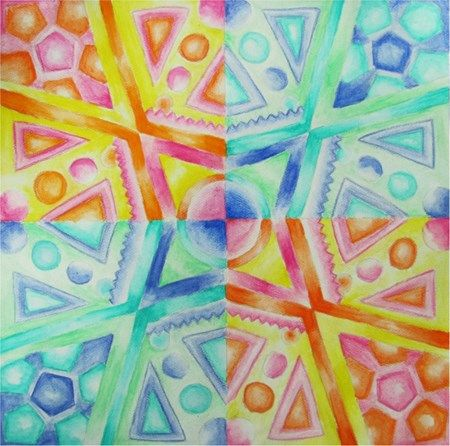Geometric Radial Balance Design in Watercolor Pencil - Conway High School Art Project