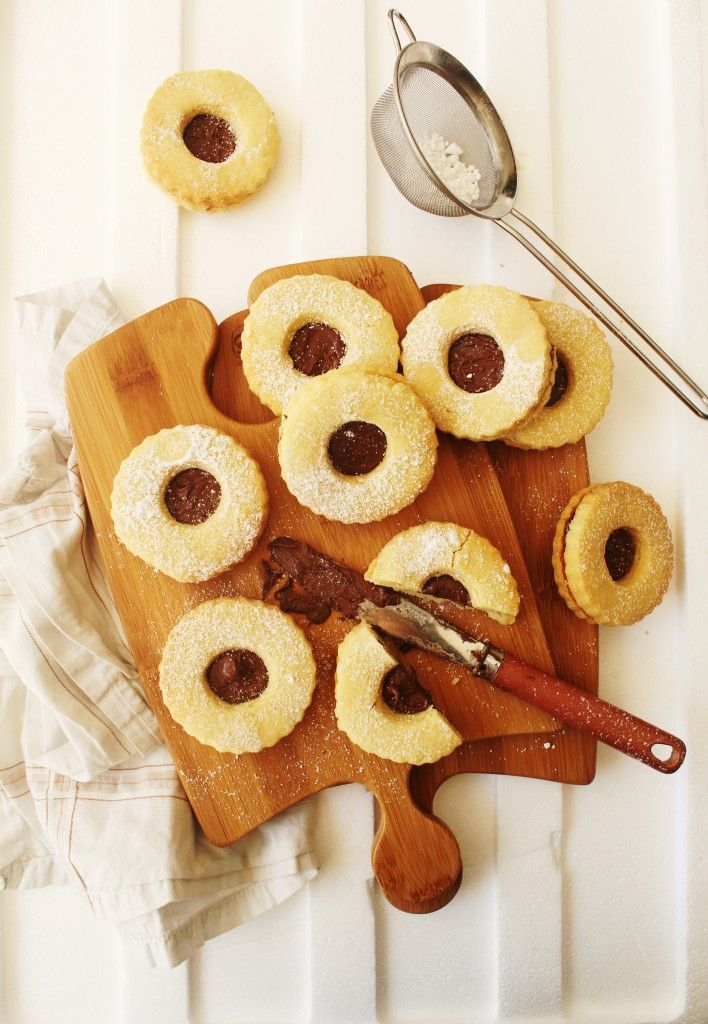 Nutella Filled Linzer Cookies