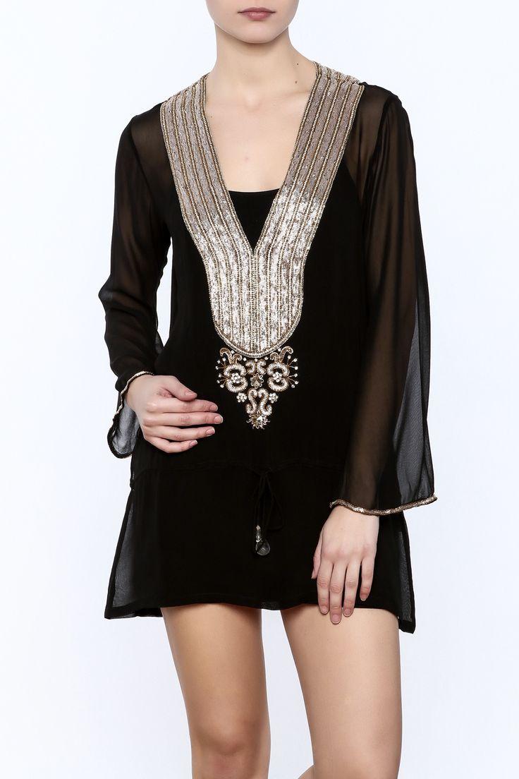 Sheer black tunic with long sleeves, v-neckline, drawstring waist and gold embellishment.   Black Embellished Tunic by Kareena's. Clothing - Swimwear - Cover Ups California