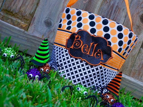 Personalized Halloween Bag Trick or Treat Bucket by DottieMDesigns