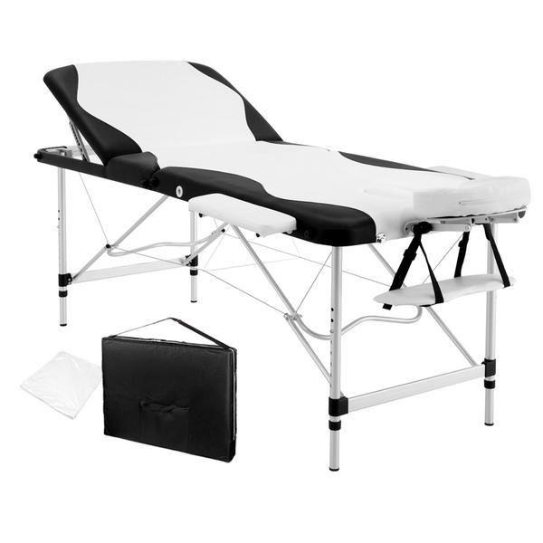 Portable Aluminium 3 Fold Massage Table Chair Bed Black White 75cm – Click Online Sales