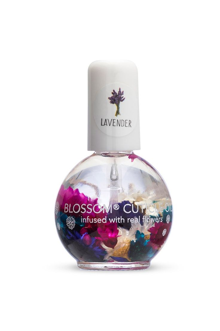 A lavender-scented cuticle oil by Blossom™ infused with real flowers and made to soften, hydrate, and repair cuticles.