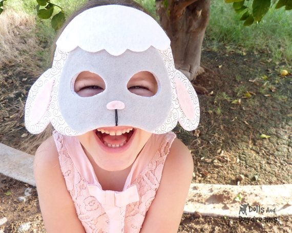 PDF Lamb Mask and Tail Sewing Pattern set that will fit the whole family! Are you the black sheep of the family ;) or know a little lamb who