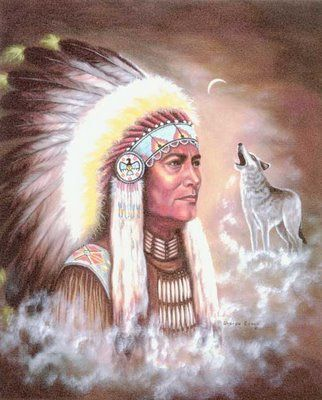 This is an image of a type of Cherokee Leader. The wolf represents power and the leader=wolf. After all, they believed in tree gods.