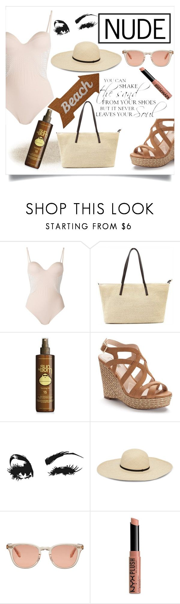 """""""Beach Summer"""" by kitty-cat130 ❤ liked on Polyvore featuring La Perla, Forever 21, Jennifer Lopez, Garrett Leight, NYX and Mud Pie"""