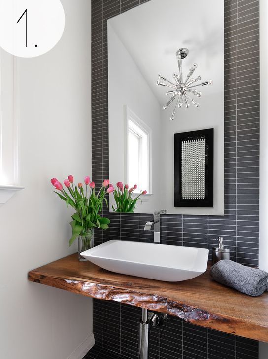 grey tile backsplash powder room modern with accent wall bathroom - Yahoo Image Search Results