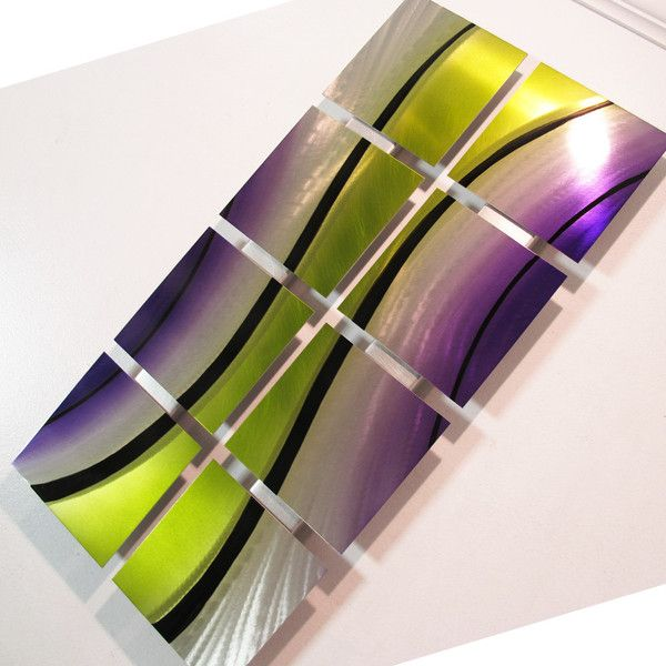 """""""Flow"""" Candy Painted Modern Metal Wall Art Approximately 26"""" in length x 14"""" in height x 2"""" deep Artwork consists of 8 individual hand sanded and painted pieces mounted on aluminum tracks. Recommended"""