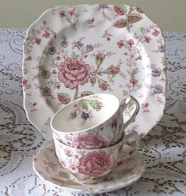 Rose Chintz by Johnson Brothers  Love this pattern. my mother handed these dishes down to me and I use them every day.
