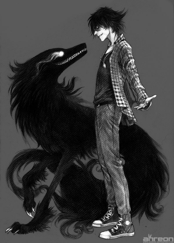 """""""Was willst du?"""", krächzte er mit einem gehässigen Grinsen im Gesicht. Das Wesen vor ihm, ein Schatten in Gestalt eines Wolfes, knurrte ihn drohend …"""