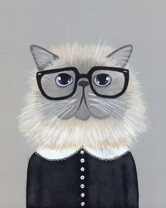 Awesome Etsy listing at https://www.etsy.com/pt/listing/188161512/the-persian-hipster-whimsical-cat-folk