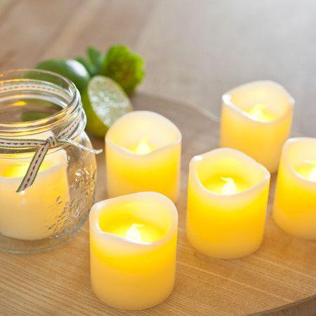 6 Wax Battery Votive Tea Light Candles
