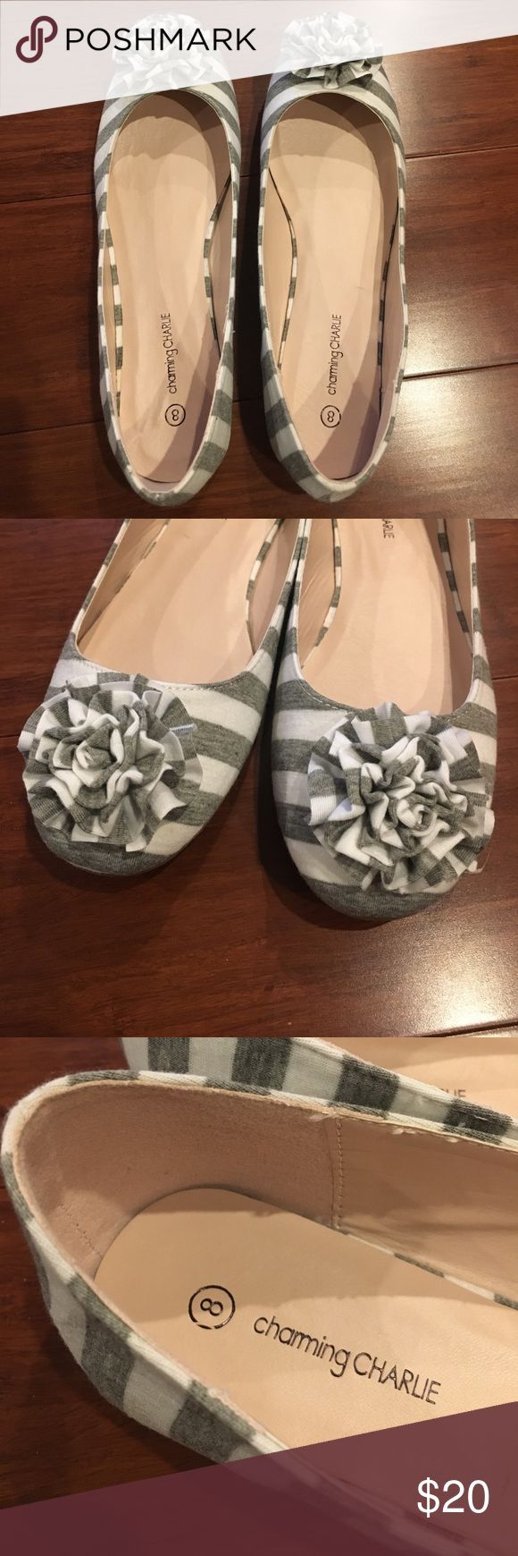 Grey and White Striped Ballet Flats Adorable grey and white striped ballet flats with floral embellishments on the toes from Charming Charlie! Never worn and in excellent condition. Women's size 8. Charming Charlie Shoes Flats & Loafers