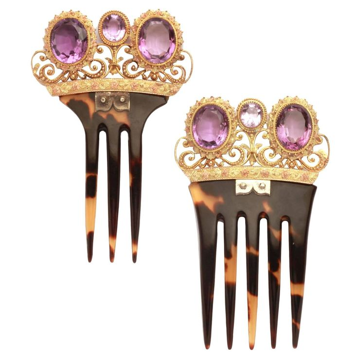 Victorian Amethyst Gold Tortoise Hair Combs | From a unique collection of vintage vanity items at https://www.1stdibs.com/jewelry/objets-dart-vertu/vanity-items/