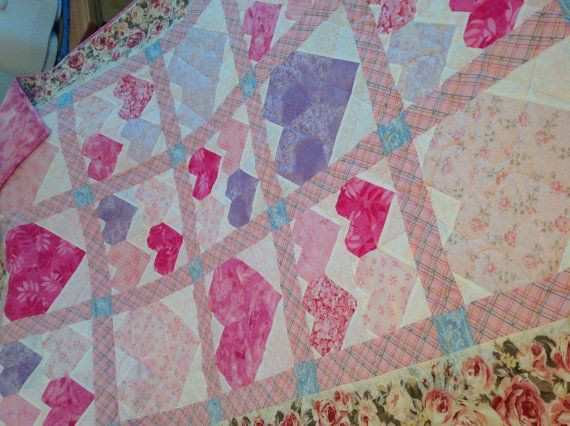 Oh sooo girlie!   Warm lovely heart quilt very feminine. by QuiltsbyNona on Etsy, $225.00