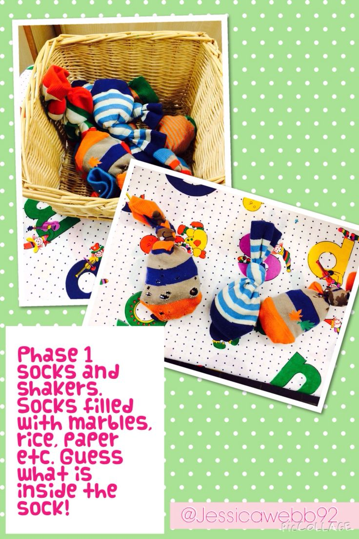 Phase 1 phonics socks and shakers. Socks filled with things such as marbles, rice and paper. What do you think is inside the sock? EYFS