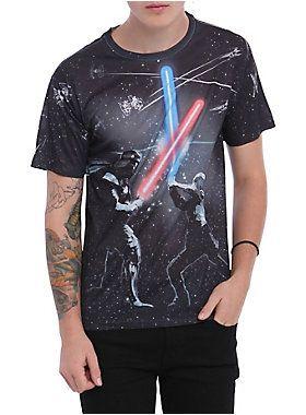 <i>Star Wars</i> T-shirt with lightsaber fight sublimation print design.<ul><li> 100% polyester</li><li>Wash cold; dry low</li><li>Imported</li><li>Listed in men's sizes</li></ul>