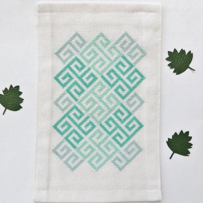 Lindisfarne Celtic Geometry cross stitch pattern. Based on a motif in the Lindisfarne Gospels.