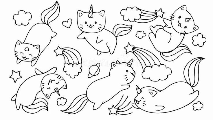 Unicorn Kitty Coloring Page Beautiful Hand Drawn Cute