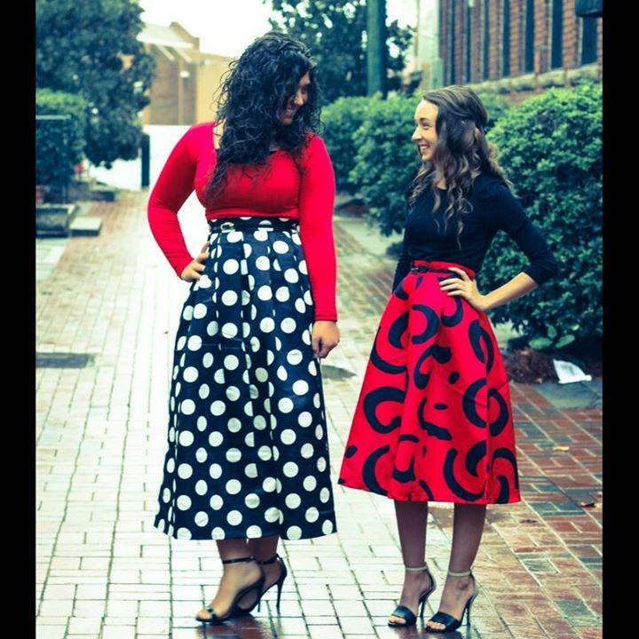 Red and black midi and maxi skirt sets by Apostolic Co.