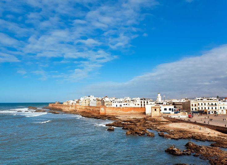 Essaouira Morocco sky water outdoor Sea Coast shore cloud promontory horizon Ocean coastal and oceanic landforms Beach cape tourism wave headland Nature breakwater Harbor bay wind wave calm day sandy