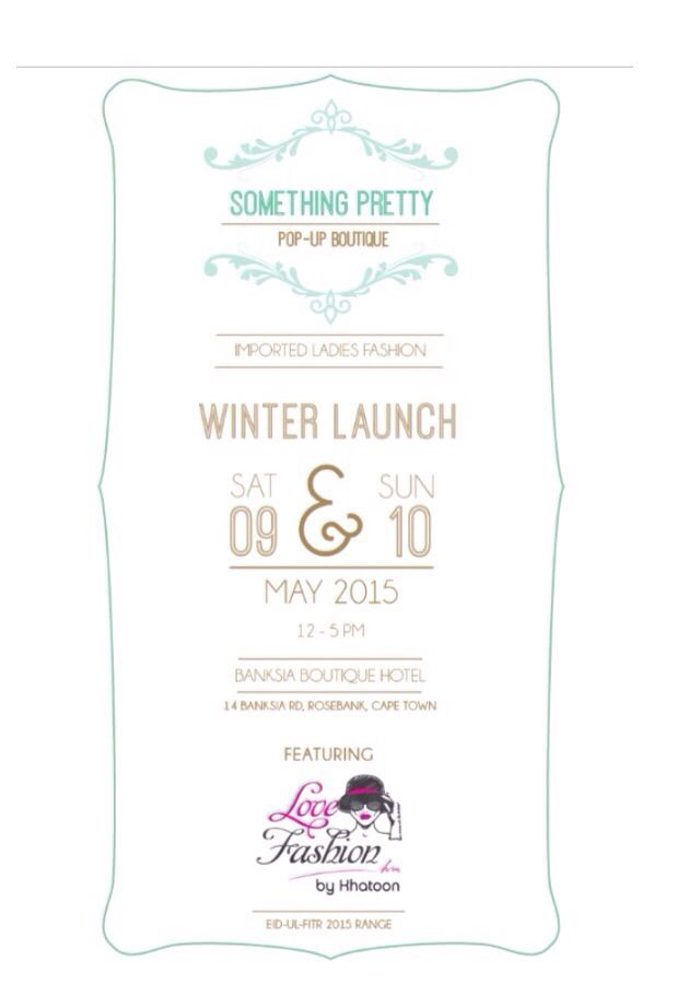 Cape Town Trunk Show 9 and 10 May 2015. Something Pretty Pop Up featuring LoveFashionKM